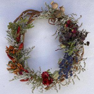 German statice, leonotis, lavender, poppy pod, oregano