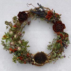 Sunflower herbs wreath nigella lavender harvest