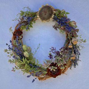 Lavender, sunflower, herbs,